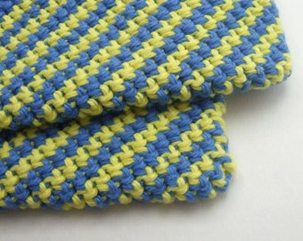 Striped Blue and Yellow Double Thick Crochet Pot Holders-----set of 2