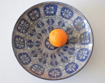 Marianne Starck for Michael Andersen & Son - huge bowl  - blue dots - Persia glaze - Danish midcentury pottery