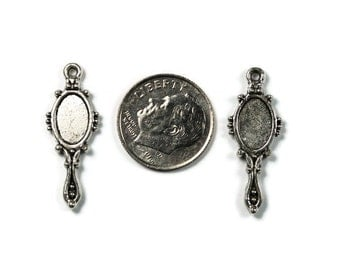 Antique Silver Mirror Charms 12 QTY, Double Sided
