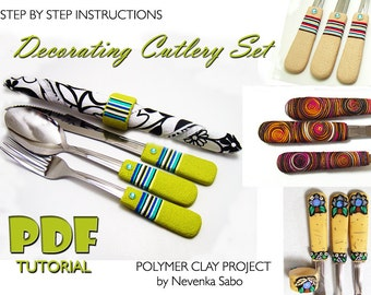 Polymer clay tutorial, PDF tutorial, Decorating cutlery, clay tutorial, Decorated silverware, DIY craft idea, DIY instructions, Unique gift