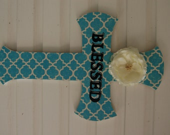 Large Blessed Turquoise Cross with Flower, Religious Gift, Home Decor, Shabby Chic(55)