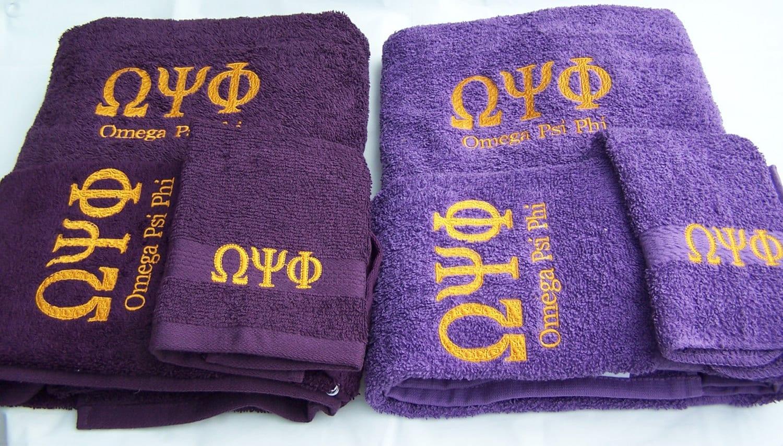 Omega Psi Phi Purple Or Deep Purple 3 Piece Towel Set Bath