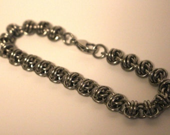 Stainless Steel Barrel Weave Chainmaille Bracelet