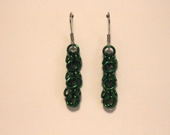 Green Anodized Aluminum Shaggy Loops Earrings