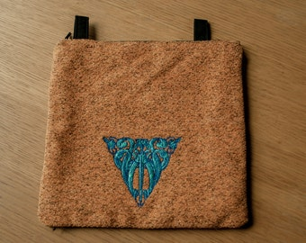 Dice Bag, Gift Bag, Pipe Bag, Jewelry Bag, Knitting Pouch. Scrolls, Sword, Medieval, Zippered . 21x21 cm (8,3x8,3 in)