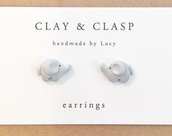 Elephant earrings - beautiful handmade polymer clay jewellery by Clay & Clasp
