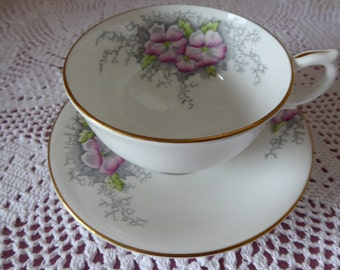 SALE ITEM Handpainted Windsor Teacup and Saucer 1940's