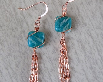 Amazonite and Copper Chain Earrings
