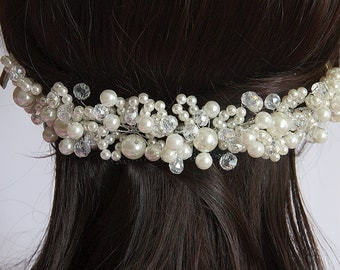 Bridal Hair Piece, Bridal Crown, Pearl Tiara, Crystal Tiara, Bridal Comb Tiara, Bridal Hair Accessories, Bridal Jewelry, Bridal Crown
