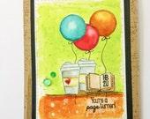 Happy Birthday Coffee Lovers Card HB2U Watercolor