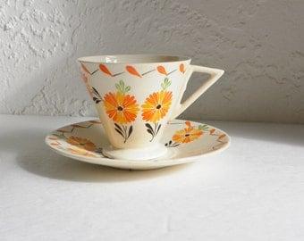 Hand Painted Floral Demitasse Espresso Cup Portugal Orange Gilman & C ta Sa cavem