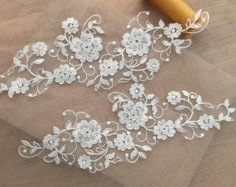 Ivory alencon lace applique pair with silver trhead