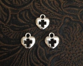 16 Pieces Tiny Heart with Cut out Cross charm Small cross charm small Heart Charm Silver heart with cut out cross 7mm 7-13-AS