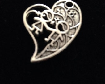 12 Pieces Heart Charms Boy and girl holding hand charms, kid charms, kids charms,  29x24mm, heart charms, holding hand charms, 8-26-AS
