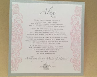 Custom Will You Be My Bridesmaid Cards / Maid of Honor Personalized Card Invite Silver Gray Grey {mauve pink side design}