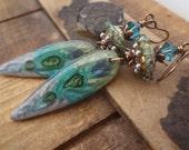 Pismo Beach, Artisan Clay Dangle Earrings, Gypsy Fashion, OOAK Artisan Lampwork, Floral Earrings,  Gypsy Boho Earrings, Summer Trends
