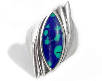 Ring Malachite Azurite Silver