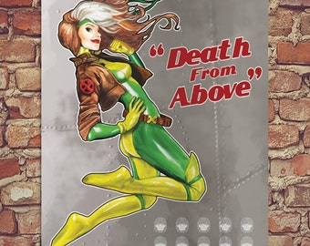 "Death from Above Rogue X-men Pin Up Poster Print 12""x16"""