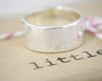 fingerprint jewellery- sterling silver fingerprint ring- Wedding band PLEASE SCROLL DOWN for full details