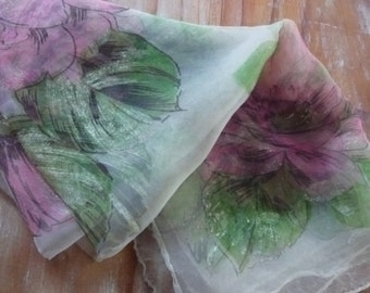 1950s nylon scarf made in Japan big pink flowers 64 cm