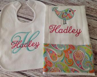 Baby Girl Burp Cloth & Baby Bib Set
