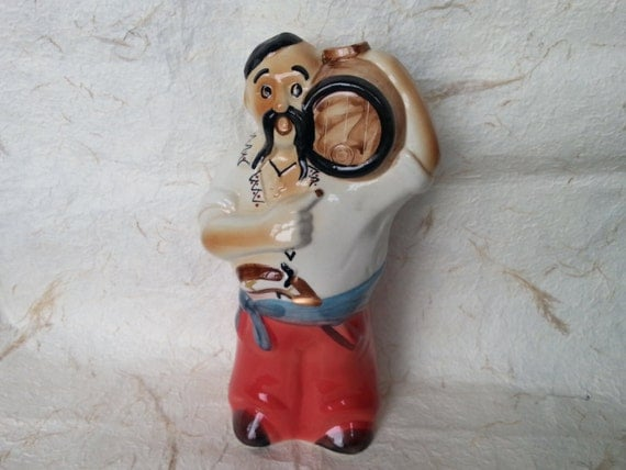 Ukrainian Bottle - Vintage Soviet Porcelain Ukrainian Man Carafe Made in USSR in 1970s.