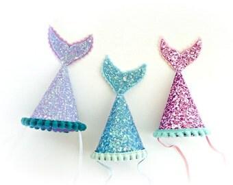 Mermaid Birthday Party Hat || Mermaid Party Hat  || Mermaid Birthday || Ariel Under the Sea || Little Blue Olive