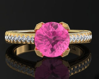 Pink Sapphire Engagement Ring Pink Sapphire Ring 14k or 18k Yellow Gold Matching Wedding Band Available SW5PKY
