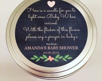 FREE SHIPPING - Personalized Baby Name Poem Soy Candle - Set of 12 - 8 oz Tins