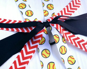 softball bow streamers, softball team hair bows ponytail ribbon, red and black hair streamer, red and black softball bow, fastpitch