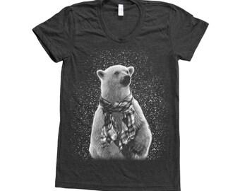 Polar Bear Shirt Women Custom Hand Screen Printed on American Apparel Tri-Blend Short Sleeve Tshirt Available: S, M, L, Xl