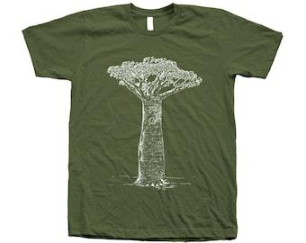 Baobab Tree Tshirt Hand Screen Print American Apparel Crew Neck T shirt Available: S,M,L, Xl, Xxl