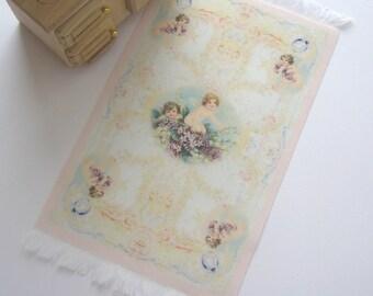 dollhouse rug mat carpet flooring cherubs  12th scale miniature