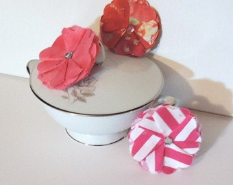 Pink fabric flowers with rhinestone centers - 3 inch - set of 3
