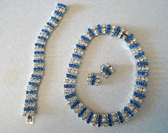 Blue Accent Rhinestone Parure Necklace Bracelet Earrings Set
