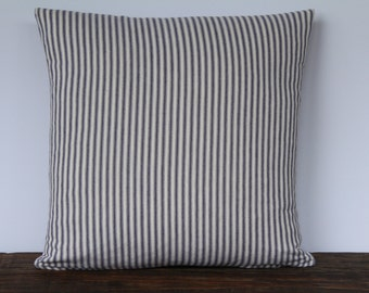 Farmhouse Blue French Ticking Pillow Cover, Decorative Pillow Cover, Custom Pillow Cover, Farmhouse Pillow Cover, Stripe Pillow Cover - BLUE