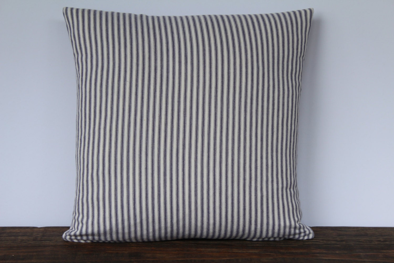 Throw Pillow Covers Farmhouse : Farmhouse Blue French Ticking Pillow Cover Decorative Pillow