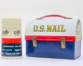 Vintage U.S. Mail Mr. Zip Domed Metal Lunchbox with Thermo Bottle