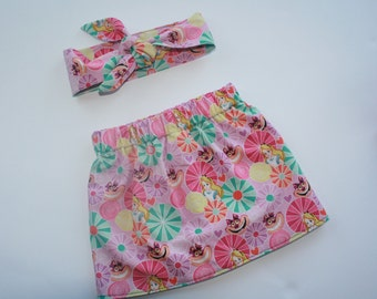 Alice in Wonderland Skirt Set, baby and toddler. Various sizes 6 mths to 2 yrs