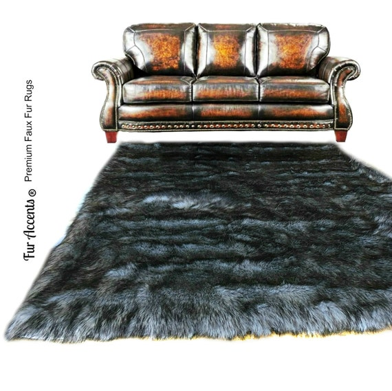 Shaggy Gray Wolf Pelt Rug Premium Faux Fur Thick By FurAccents