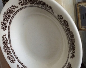 White and brown, floral, vintage bowl, USA bowl