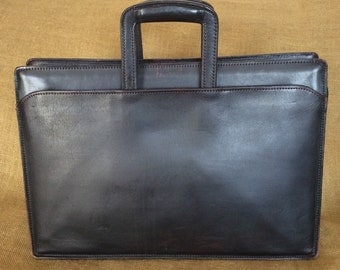 Vintage SCHLESINGER BROTHERS black full grain cowhide leather briefcase