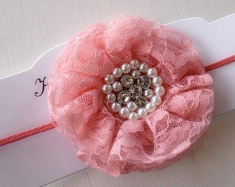 Fancy Coral Lace Flower Headband - Pearl Rhinestone Headband - Coral Rose Headband - Salmon Pink Headband - Vintage Style Baby Girl Headband