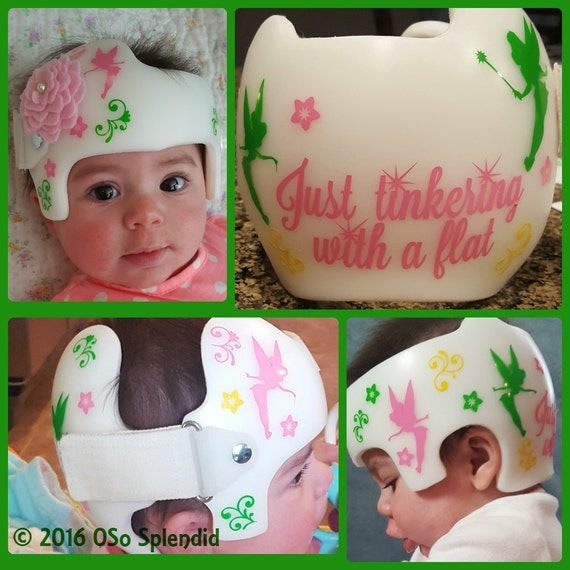 Personalized Cranial Band Fairy Decals Just Tinkering - Baby helmet decalspersonalized cranial band fairy decals just tinkering