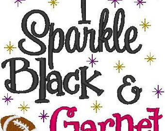 I Sparkle Black and Garnet with Football