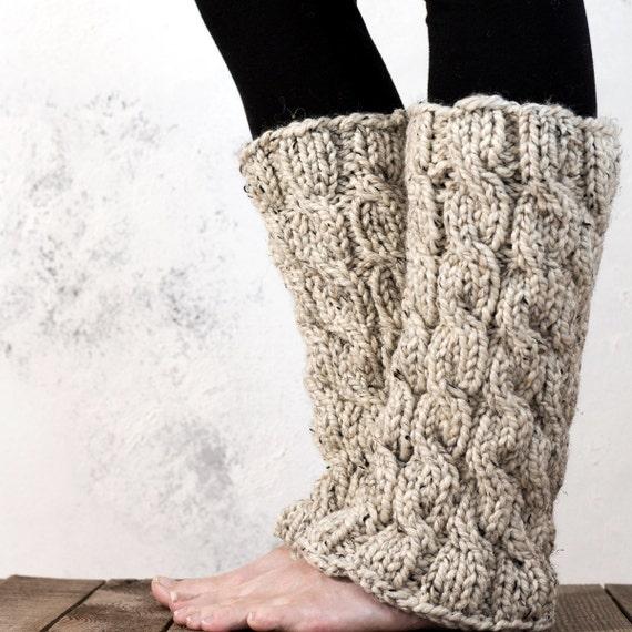 Leg Warmers Knitting Pattern Circular Needles : Cable Knit Leg Warmers Knitting Pattern MAJESTY a set of
