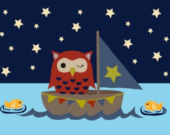Owl in a Sailboat Postcard