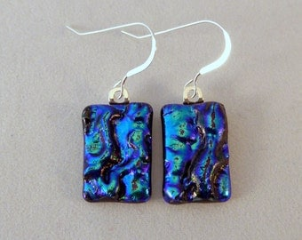 Blue Dichroic Fused Glass Dangle Earrings, Fused Glass, Fused Glass Earrings, Glass Earrings, Dichroic Earrings, Dichroic, Dangle