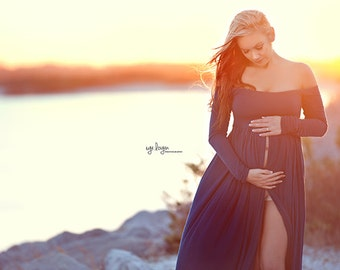 Miriam Gown • Long Sleeve Maternity Gown • Off the Shoulder Dress • Maternity Gown • Renaissance Gown • Soft Knit Maternity Gown • Bohemian