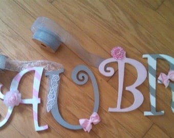 "CUSTOM 9"" Pink, Grey and White Hanging Wooden Wall Letters -  for Nursery or Child's Bedroom - Designed by a Professional Artist"